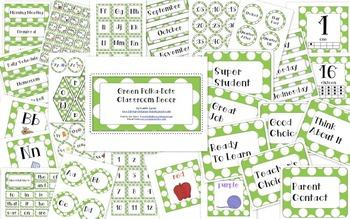 White Polka-Dots with Green Classroom Decor