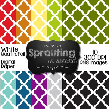 Backgrounds - White Quatrefoil II {Digital Papers)