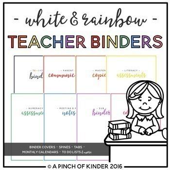 EDITABLE White & Rainbow Teacher Binder {August 2019 - June 2020}
