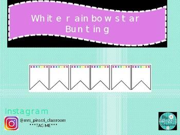 White, Rainbow star bunting