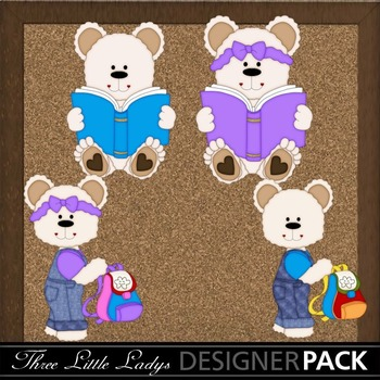 White Reading Bears-Back to school