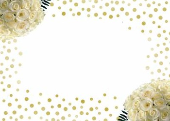 White Roses and Glitter Card and Clipart