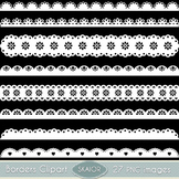 White Scalloped Borders Clipart Ribbons Text Dividers Lace Clip Art Scrapbooking