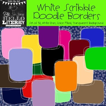 White Scribble Doodle Borders: For Personal & Commercial Use