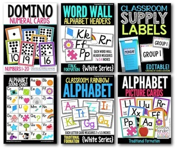 White Series Classroom Instructional Decor: THE BUNDLE!