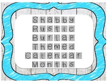 (White) Shabby Rustic Burlap Themed Calendar Months
