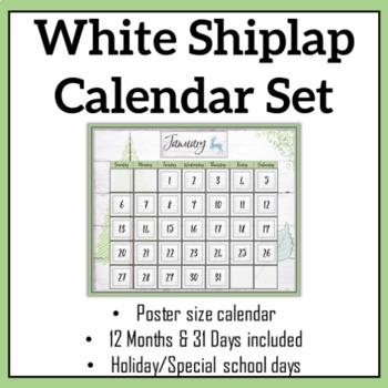 White Shiplap Large Classroom Wall Calendar