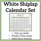 White Shiplap Large Classroom Wall Calendar