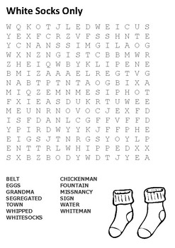 White Socks Only Word Search