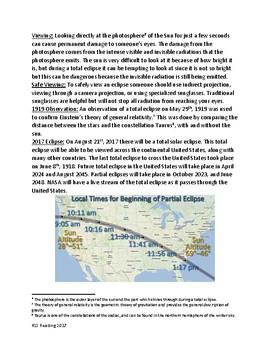 Solar Eclipse - Review Article Lesson - review questions