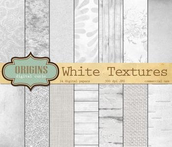 White Textures Digital Paper, Scrapbook Paper backgrounds