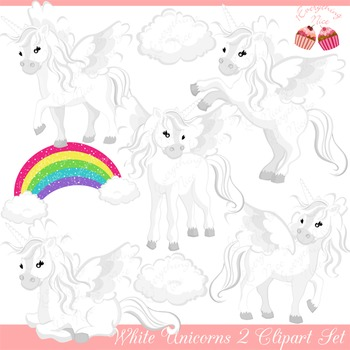 White Unicorns 2 Clipart Set