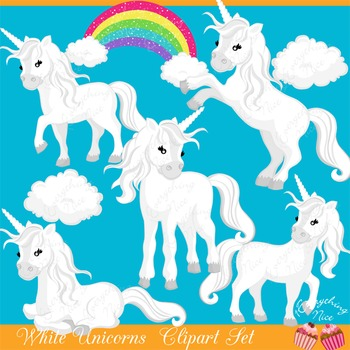 White Unicorns Clipart Set