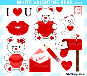 Valentine bear clipart commercial use