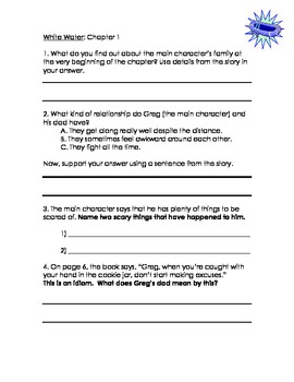 """White Water"" by P.J. Petersen, Common Core Comprehension Packet"