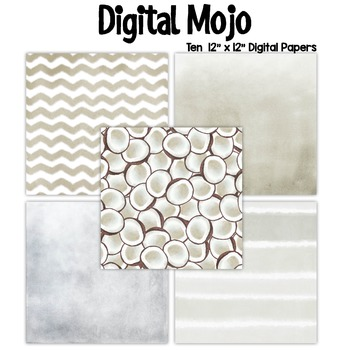 White Watercolor Grunge Digital Papers (Coconut inspired)
