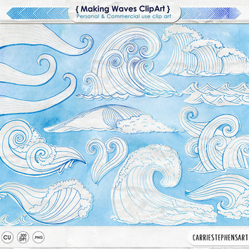 White Watercolor Wave Clip Art, Blue Outlines + Solid White Fill Separates