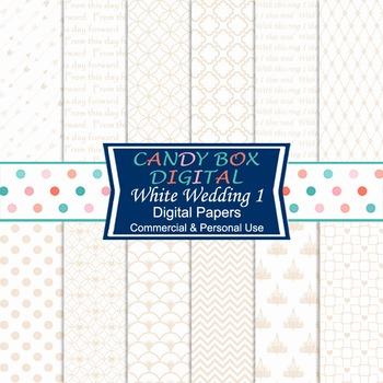 White Wedding 1 Digital Paper for Wedding and Bridal Shower Invites