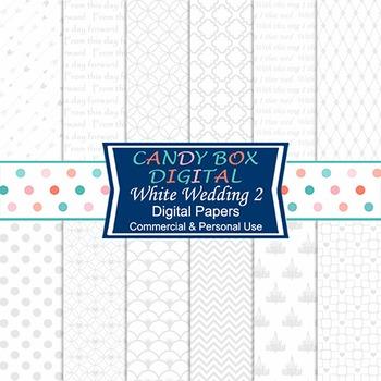 White Wedding 2 Digital Paper for Wedding and Bridal Shower Invites