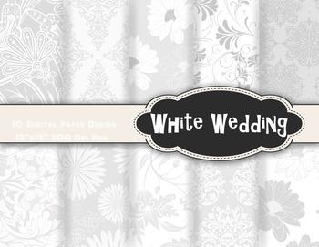 White Wedding Damask Digital Paper Printable Paper White Flower Background Paper