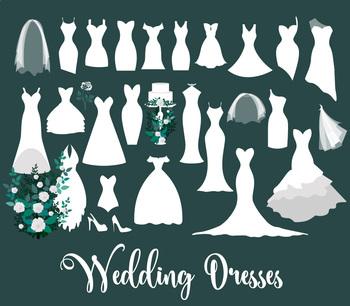 White Wedding Dresses Vector clipart, bridal veil, cakes, shoes clip art