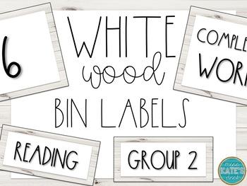 Bin/Tub Labels- White Wood (Editable)