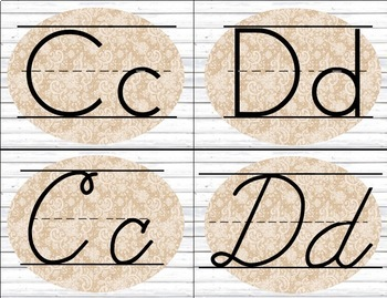 White Wood Burlap and Lace Alphabet Cards / Banner / Posters (Print and Cursive)