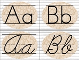 White Wood Burlap and Lace Alphabet Cards / Banner / Poste