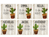 White Wood Cactus Name Tags Editable