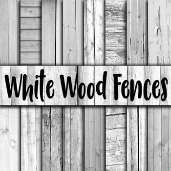 White Wood Fences Digital Paper - 16 Different Papers - 12inx12in