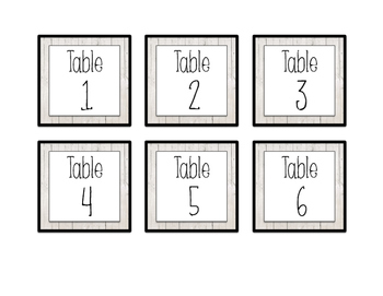 Table Labels & Signs- White Wood