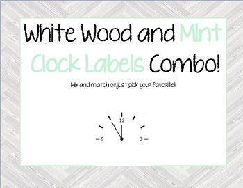 White Wood and Mint Clock Label COMBO