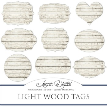 White Wood tags clip art Scrapbook printable wedding frame labels ...
