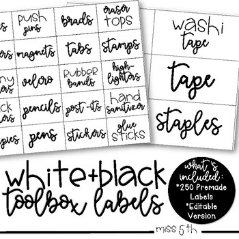 White and Black Teacher Toolbox/Supply Labels