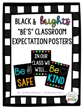 "White and Bright ""Be's"" Classroom Expectation Posters"