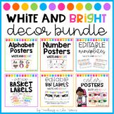 White and Bright Classroom Decor Bundle (D'Nealian Font)