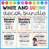 White and Bright Classroom Decor Bundle (Manuscript Font)