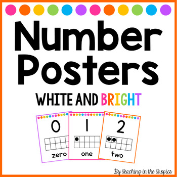 White and Bright Number Posters 0-20 (Manuscript)