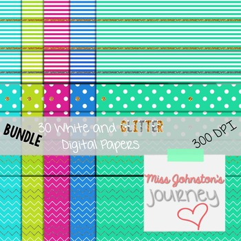 White and Glitter Digital Papers Bundle {Cool Colors}