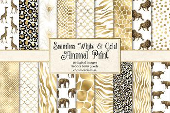 White and Gold Animal Skins, African animal safari print digital paper patterns
