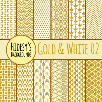 White and Gold Backgrounds / Digital Papers / Patterns Clip Art Commercial Use 2