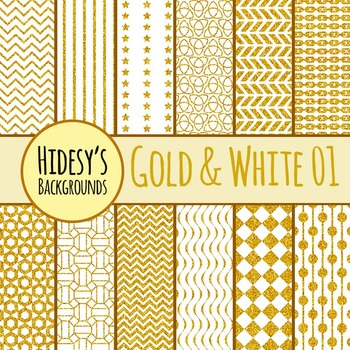White and Gold Backgrounds / Digital Papers / Patterns Cli