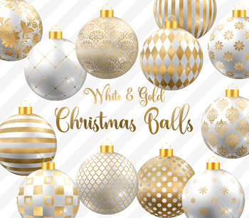 White and Gold Christmas Balls, Baubles, Ornaments Clipart