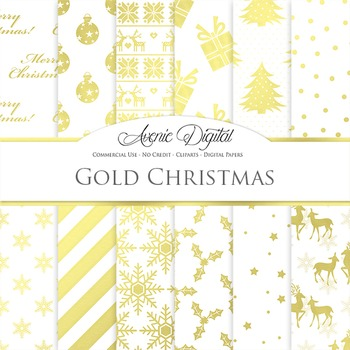 White and Gold Christmas Digital Paper
