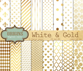 White and Gold Digital Paper Scrapbook Paper Pack