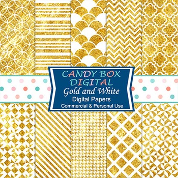 White and Gold Digital Papers