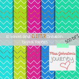 White and Glitter Chevron Digital Papers {Cool Colors}
