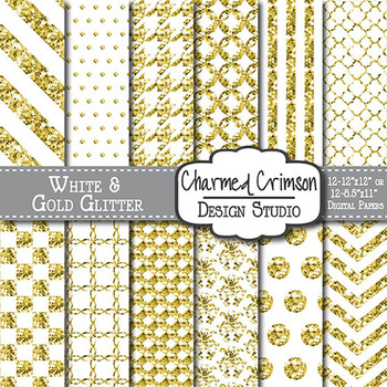 White and Gold Glitter Digital Paper 1119