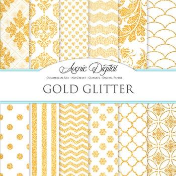 White and Gold Glitter Digital Paper sparkle pattern scrapbook background