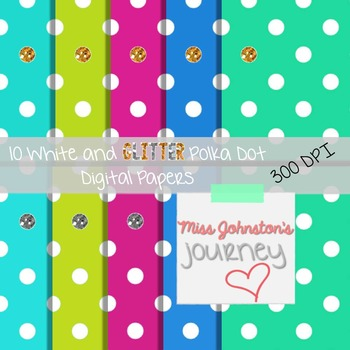 White and Glitter Polka Dot Digital Papers {Cool Colors}